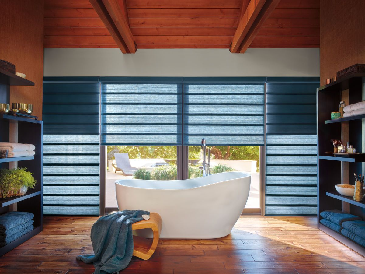 roll down window shades bamboo combining standard light filtering or sheer roller shade with room darkening panel that rolls down behind roman shades check our the new vignette duolite by hunter douglas