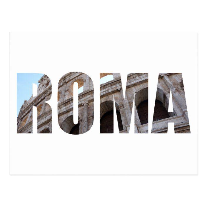 Postal del coliseo de Roma con las letras |