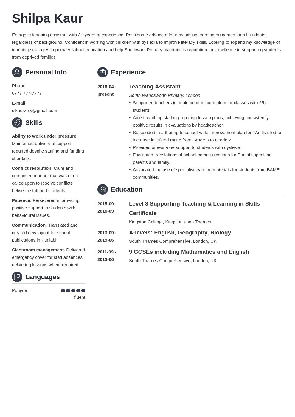 uk teaching assistant cv example template crisp Teaching