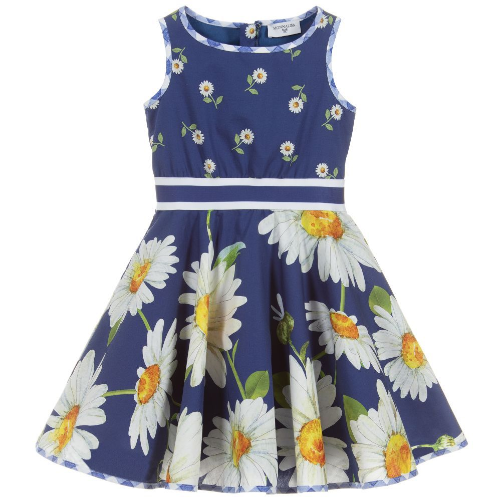 898e1a2192f Girls blue daisy print dress by Monnalisa. Made from soft