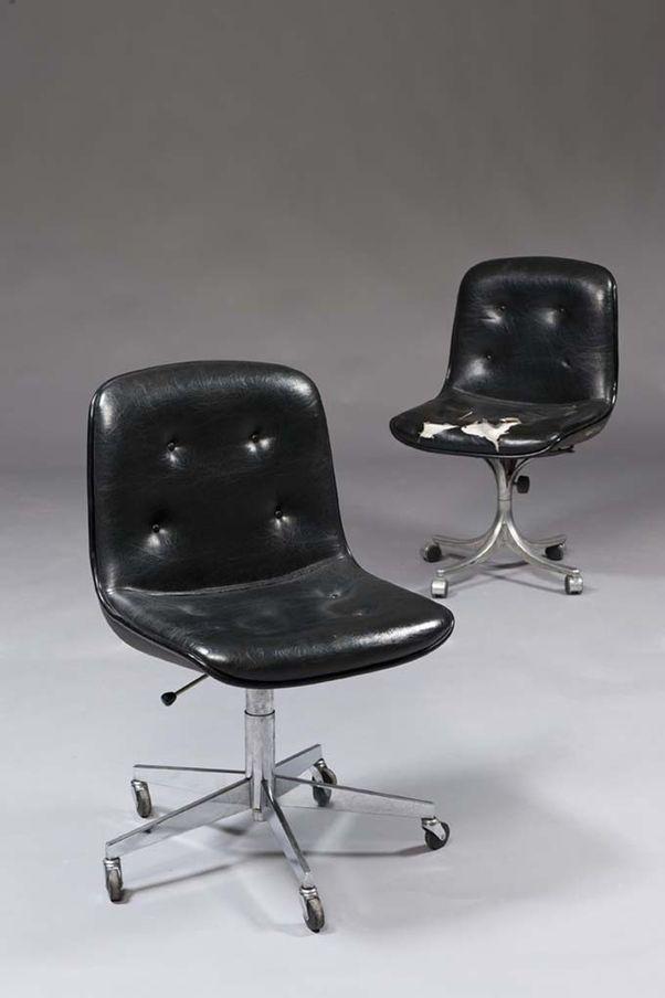 Charles Pollock Steel Base Office Chairs 1960s Chaise De Bureau Vintage Chaises Retro Chaise Fauteuil
