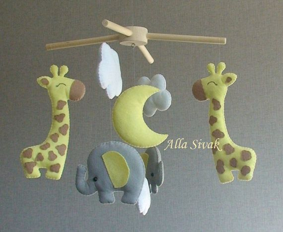 Elephant Giraffe Mobile Grey Yellow
