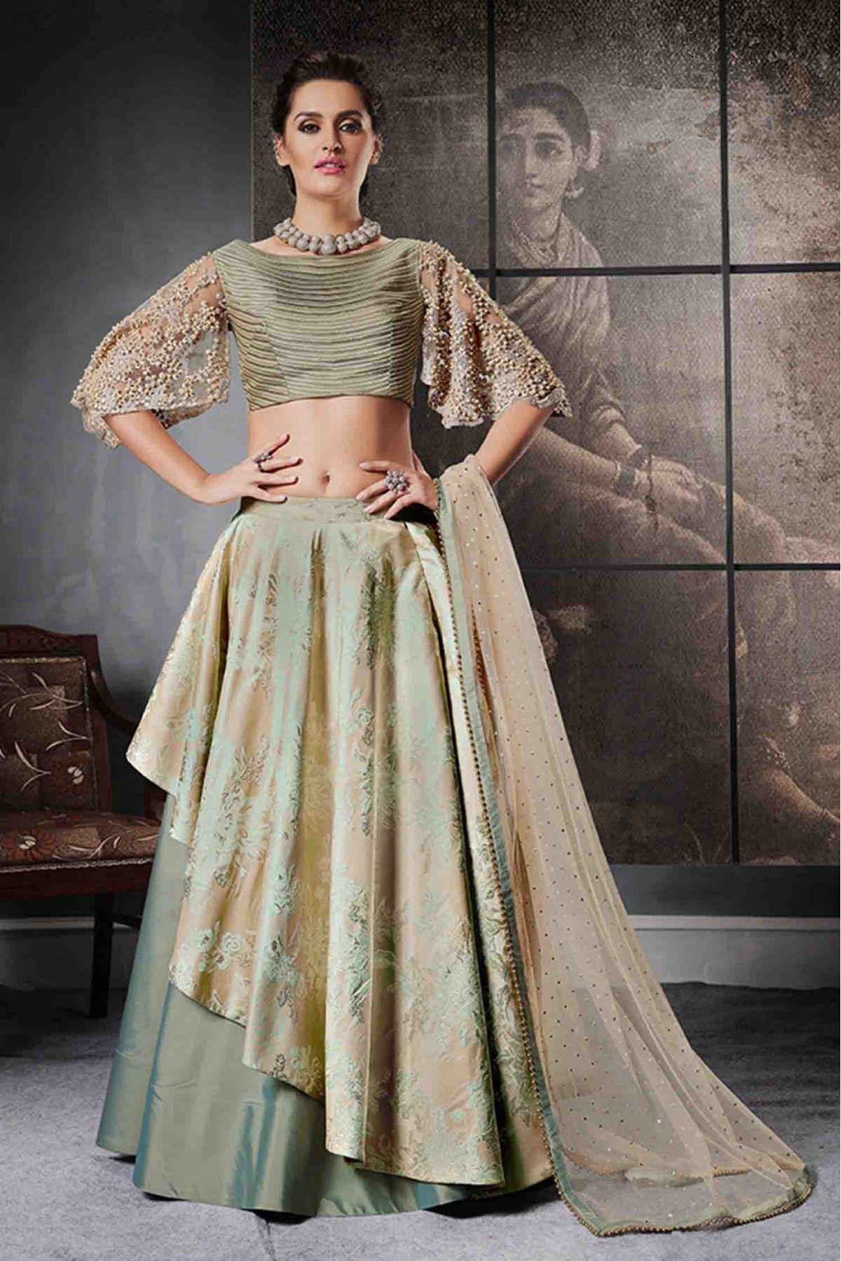 a6ec30278a Peach and Grey Colour Jacquard Silk and Taffeta Lehenga Choli Comes With  Matching Raw Silk Blouse Fabric and Net Dupatta Fabric.