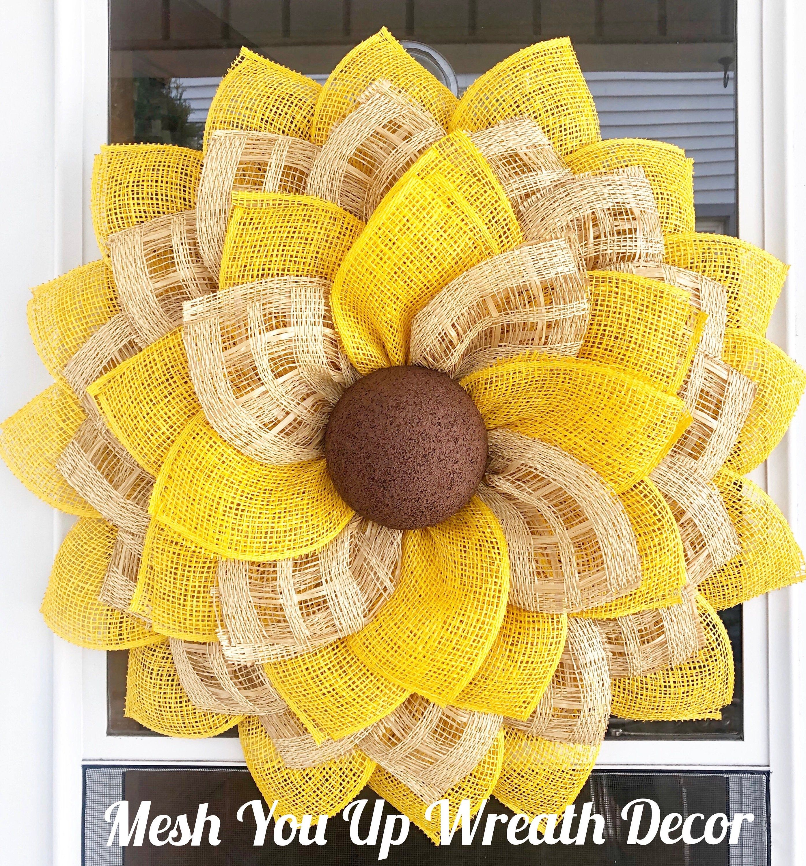 Photo of Large sunflower flower wreath, front door decor, spring and summer wreath, autumn wreath