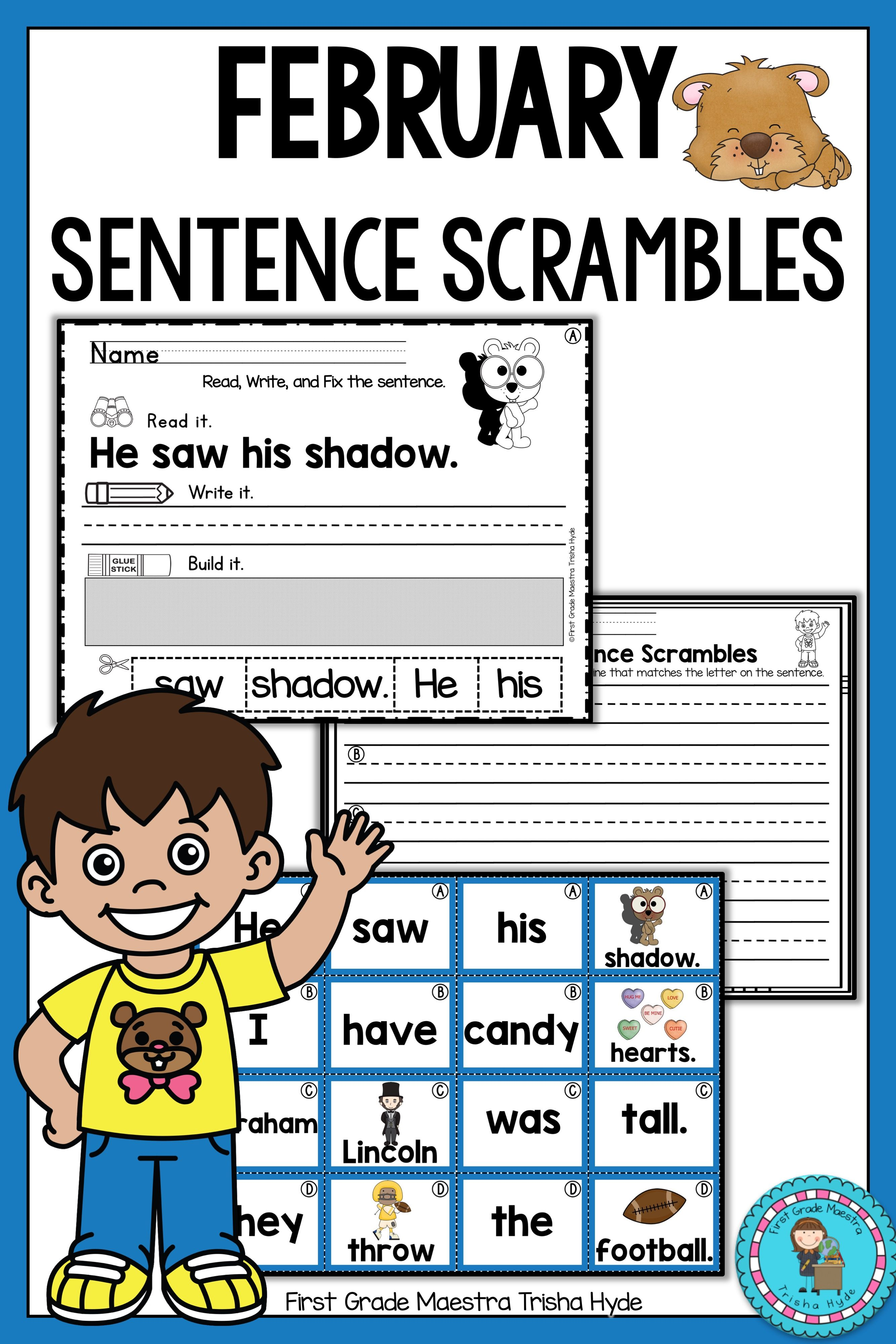 Your Students Will Love These February Sentence Scramble
