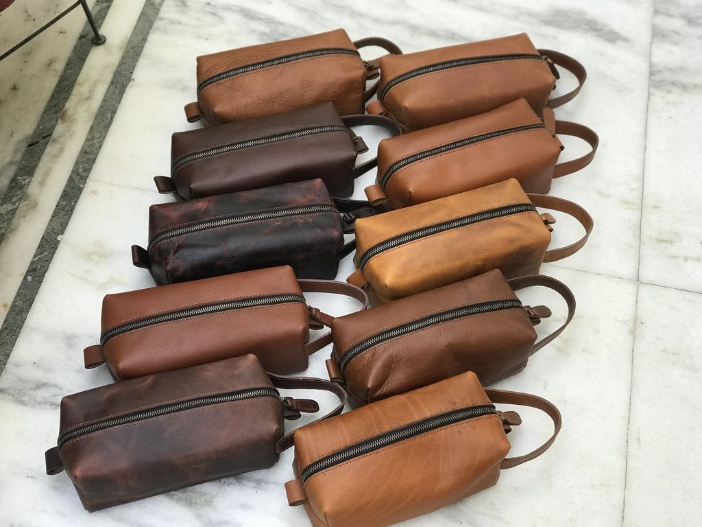 Genuine leather toiletry bag groomsmen gift personalized