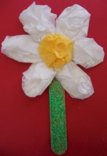Fun And Easy Spring Flower Craft Made With Yellow And White Tissue
