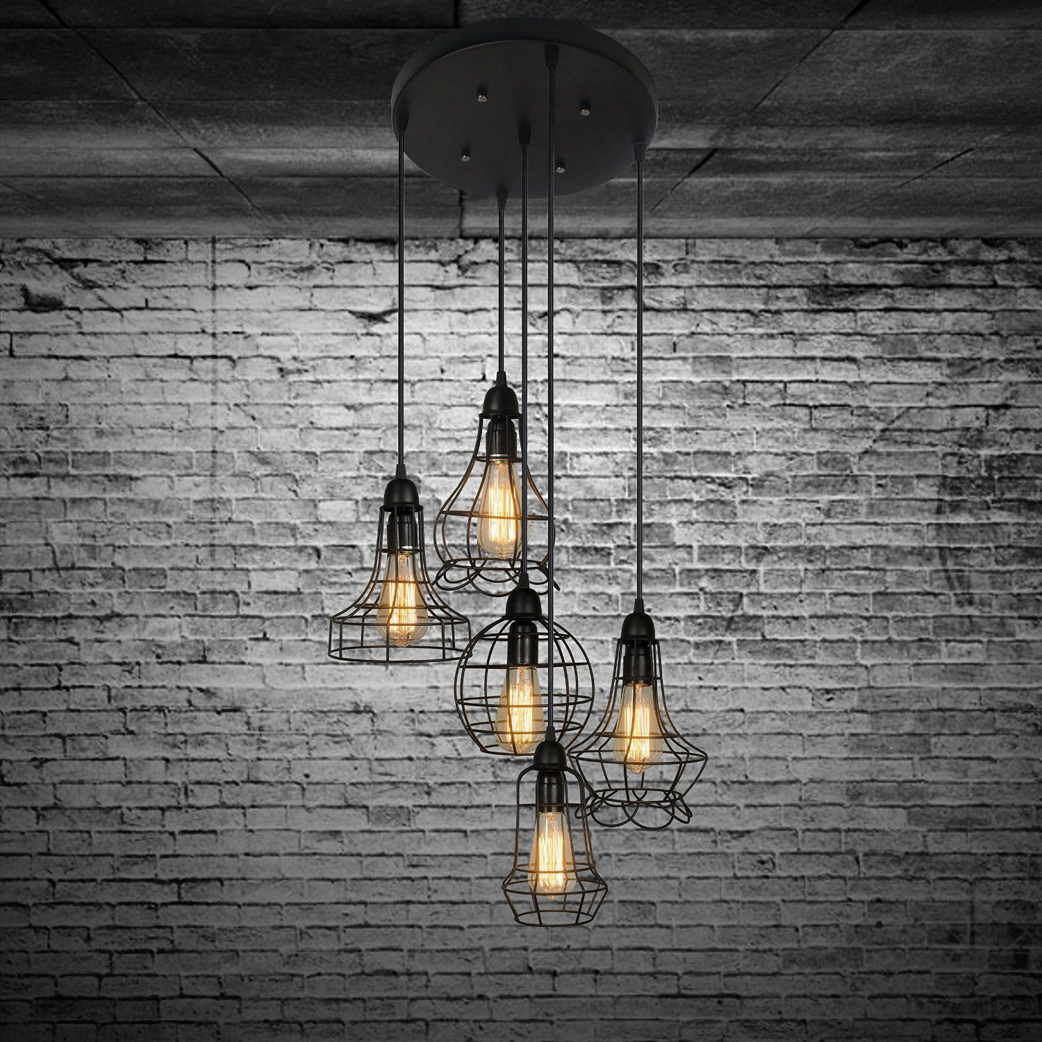 Industrial Set of Cage Lighting Fixture - LITFAD Rustic Barn Metal Chandelier Max 200w with 5 Cage Lights Black Finish, Pendant Light: Amazon.ca: Tools & Home Improvement