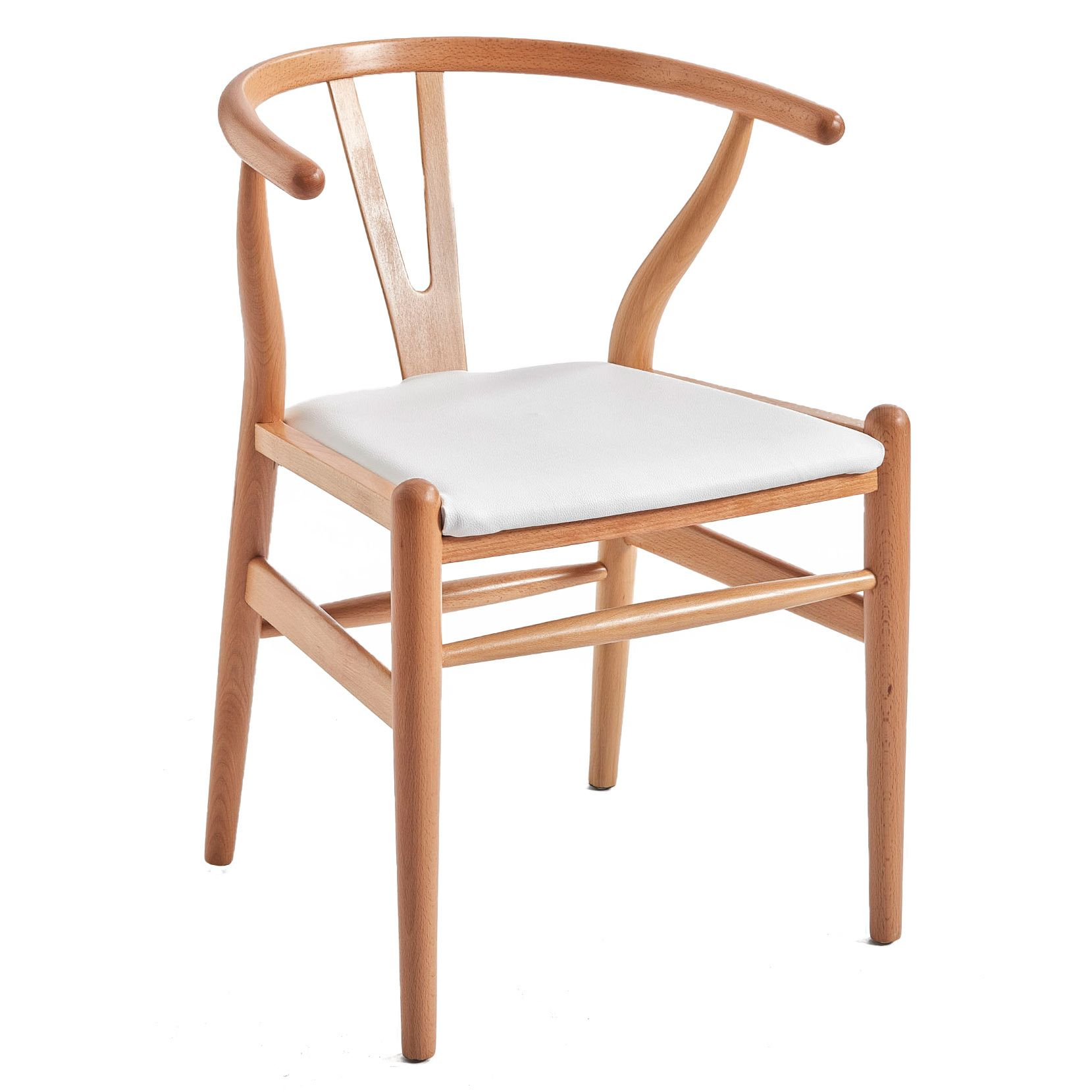 Hans Wegner Replica Wishbone Chair with Padded Seat by