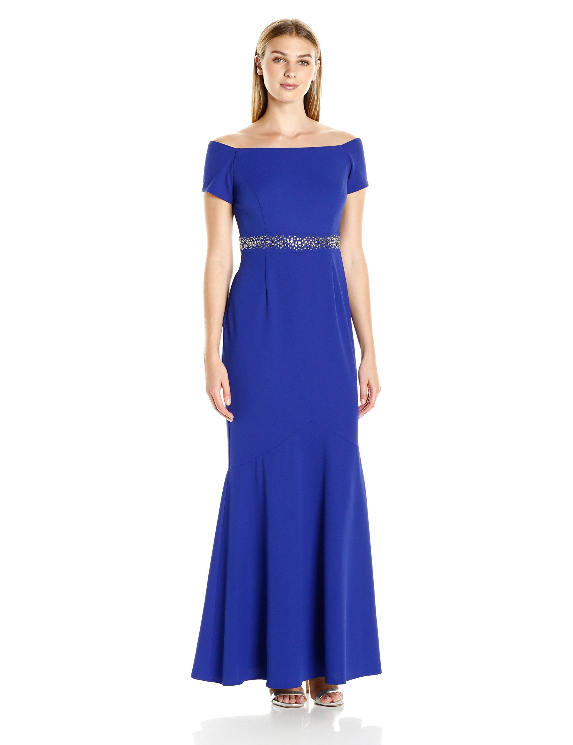 Alex Evenings Womens Long Off the Shoulder Fit and Flare Dress with ...