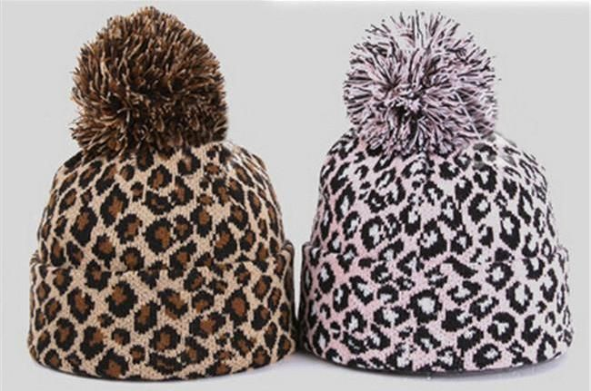 28da15d982767 Pom Pom soft leopard beanie Pink Beanies