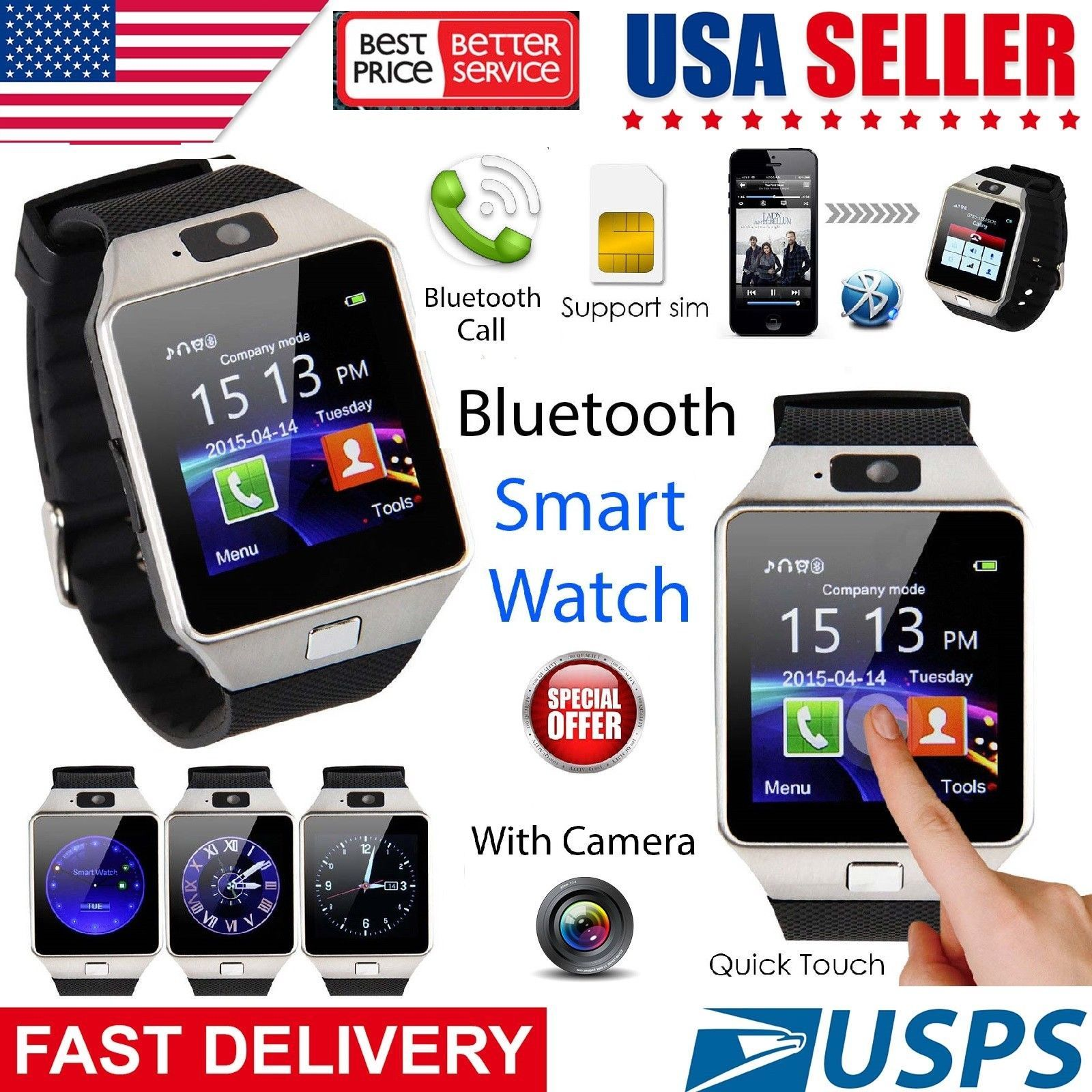 Bluetooth Smart Watch W/camera Waterproof Phone Mate For Android Samsung Iphone Cell Phones & Accessories Watches, Parts & Accessories