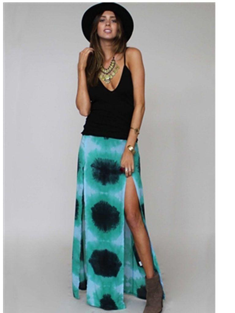 Blu Moon Two Slit Skirt In Aqua Tie Dye Tie Dye Maxi Skirt