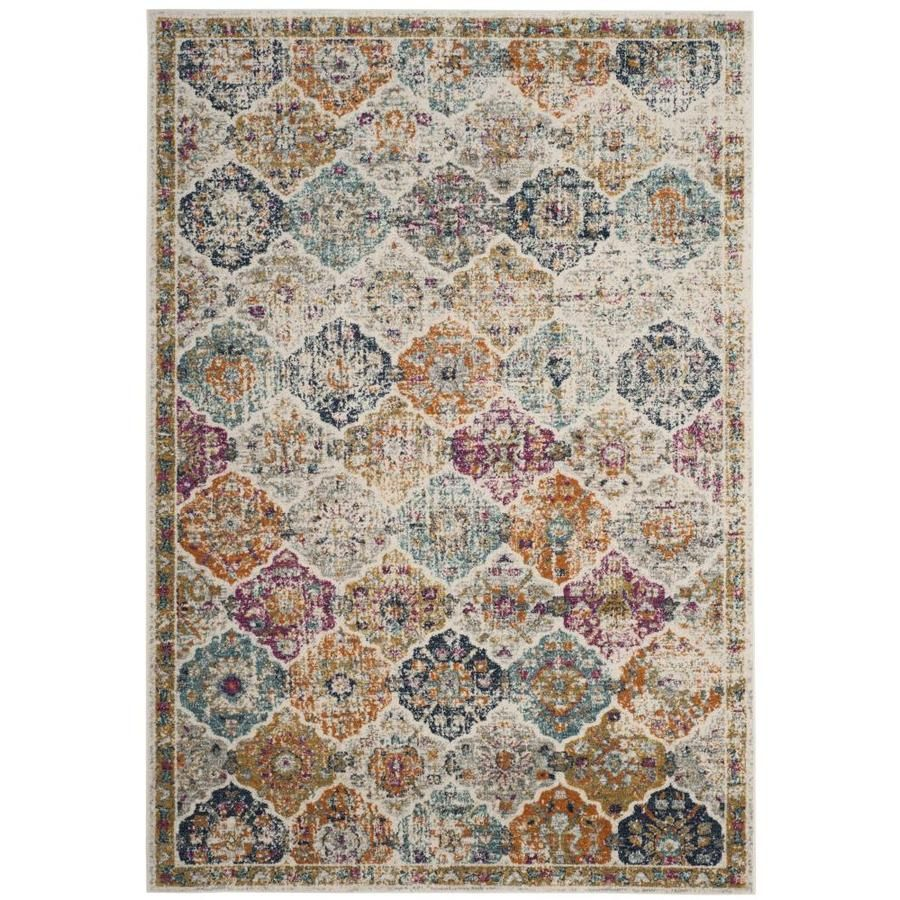 Safavieh Madison Lyton 10 X 14 Cream Multi Indoor Distressed Overdyed Vintage Area Rug Lowes Com Area Rugs Distressed Rugs Vintage Area Rugs