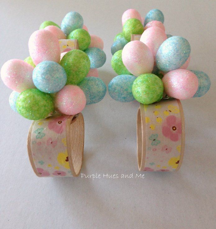 Easter Eggs Flower Napkin Rings Easter Napkins Easter Napkins Rings Diy Easter Decorations