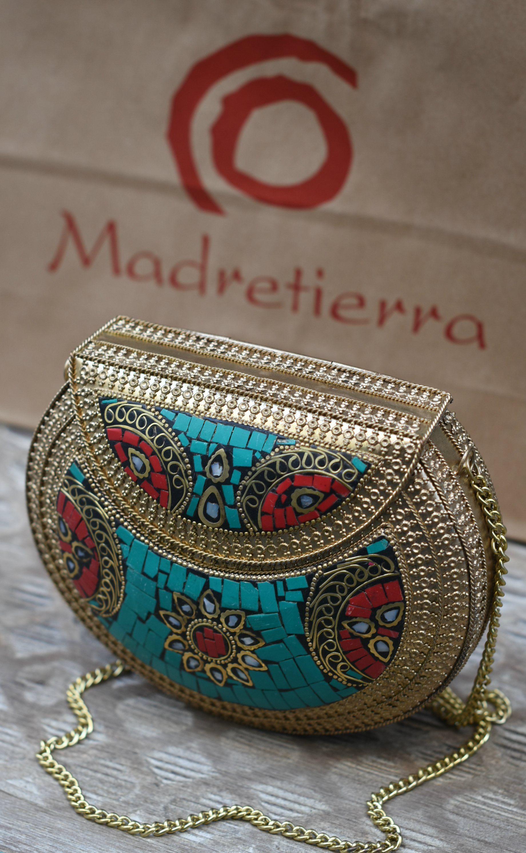 76748c1a6 Bolso Mosaico Rigido, Metal y Resina color Rojo y Turquesa. Para usar como  bolso