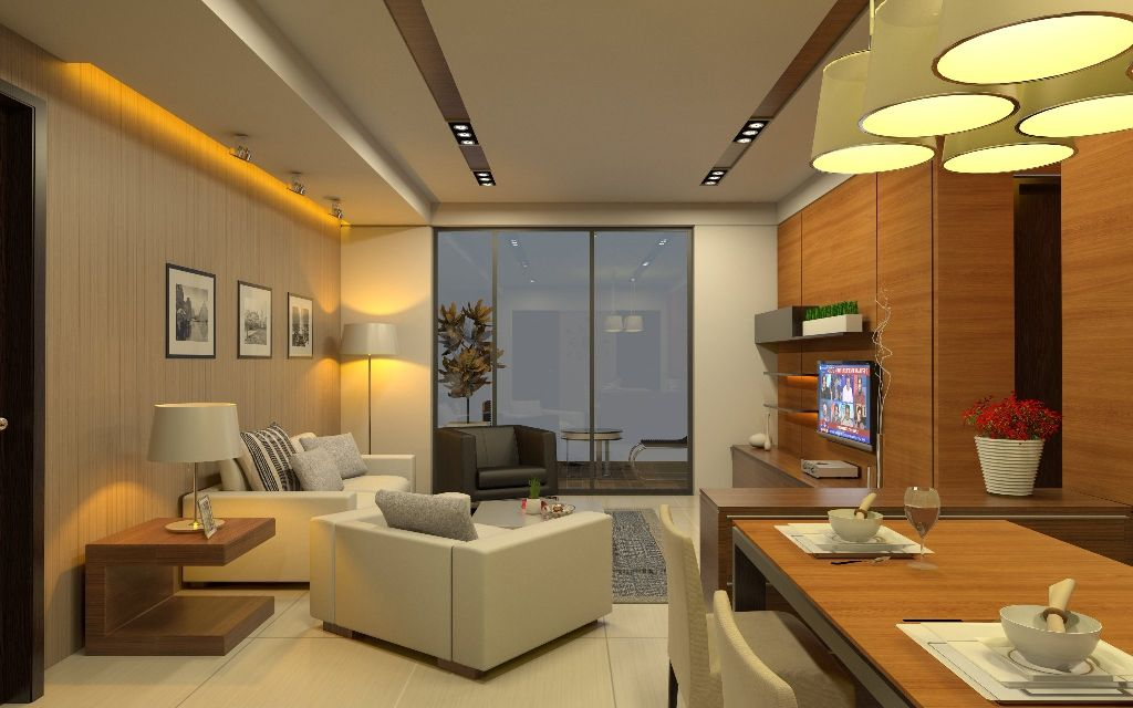 Living Room Furniture Mumbai living cum dining room with creamy sofas - designarchitect