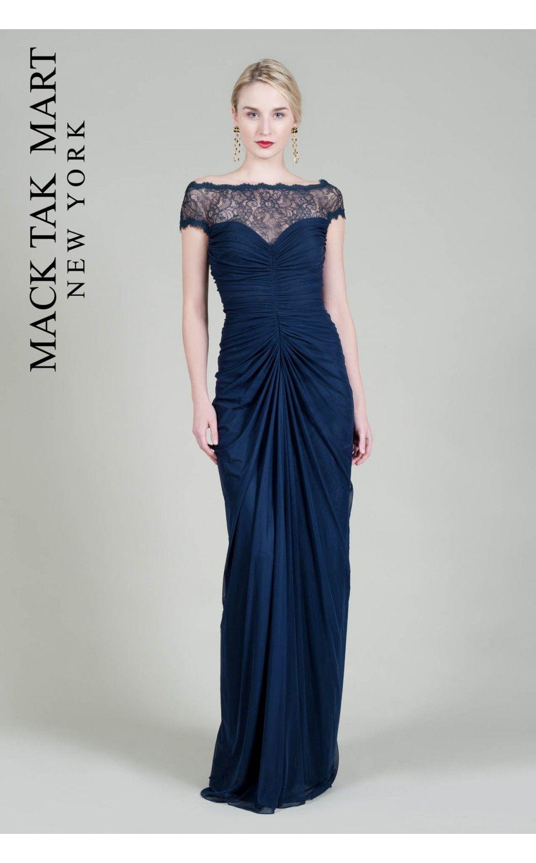 Tadashi Shoji TD965L long dark blue dress