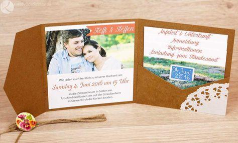 Einladung, Hochzeitseinladung, Hochzeit, Karte, Kraftpapier, Vintage,  Rustikal, Spitze,