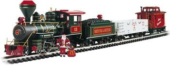 This is the Night Before Christmas Set G Scale train set complete with controller, track and train. The engine smokes, has lights and sound.