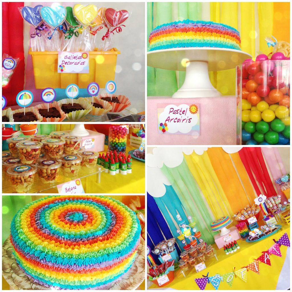 Rainbow party!!! Sofía 1 year! Love the magic of the rainbow colors...❤ Fiesta arcoiris de Sofía, 1 año! Amo la magia de loa colores del arcoiris, siempre se ven hermosos!