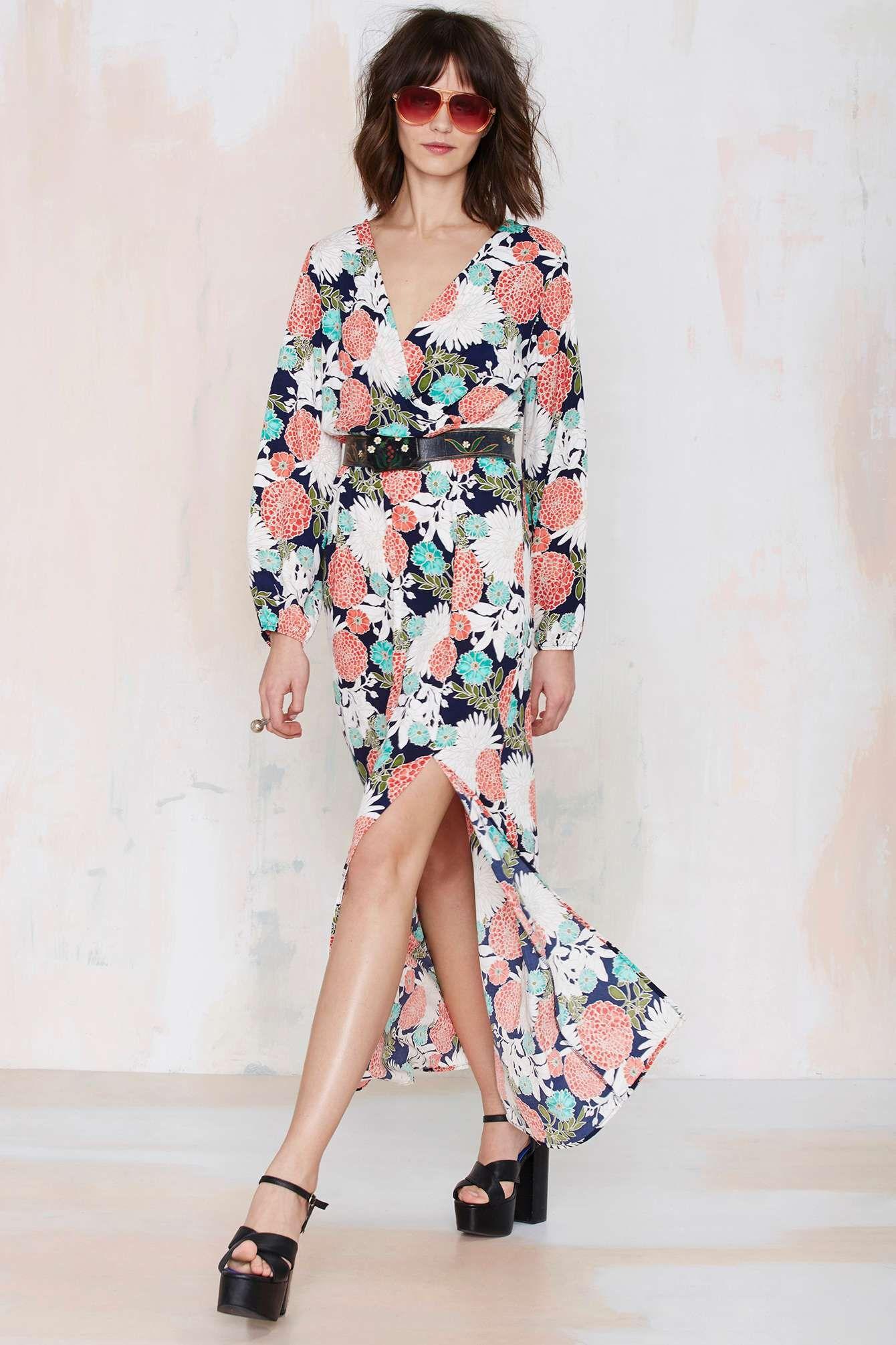 Ella floral maxi dress with thighhigh slit looks pinterest