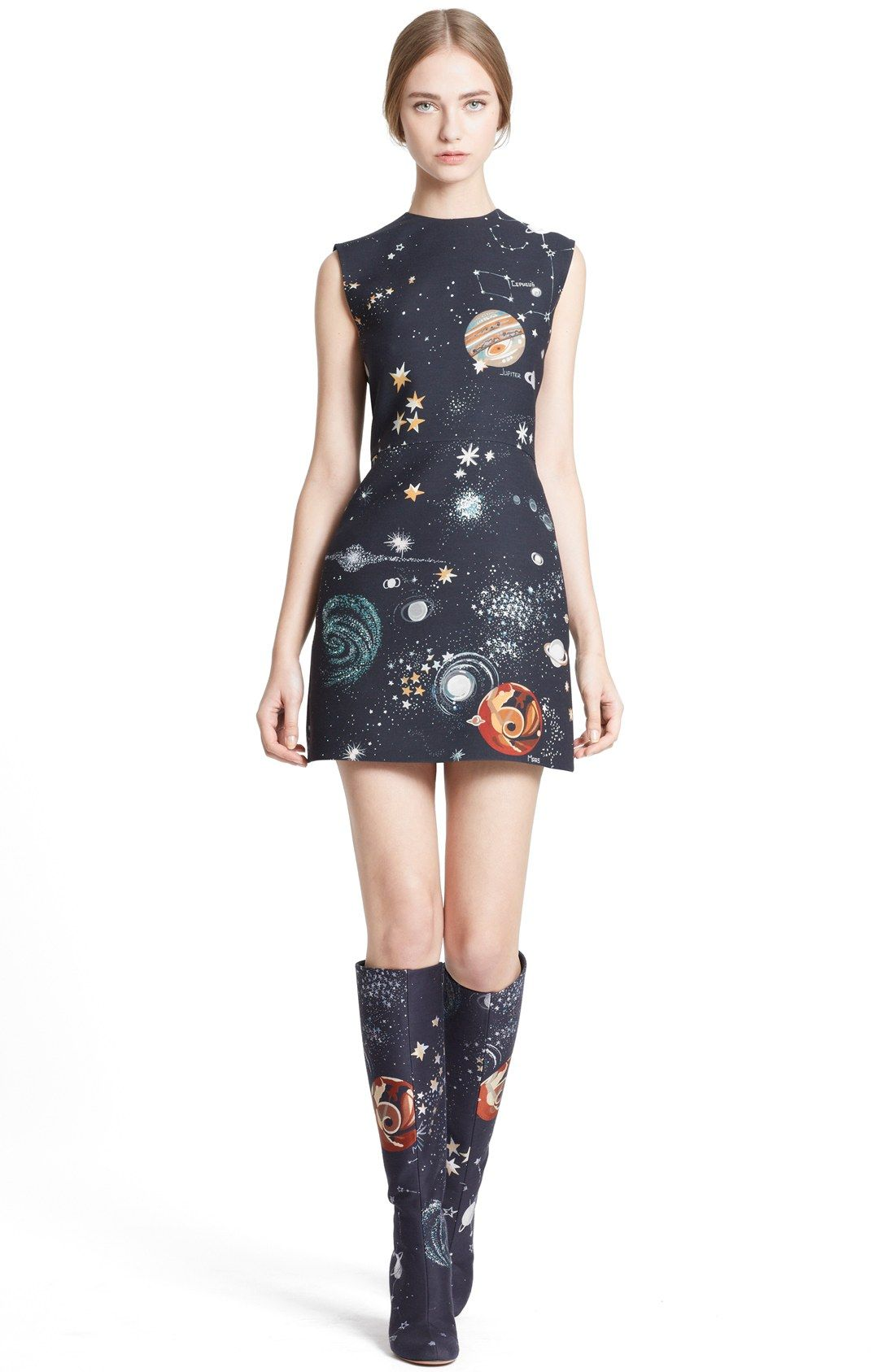 Valentino Cosmos Print Wool Blend Crepe Shift Dress
