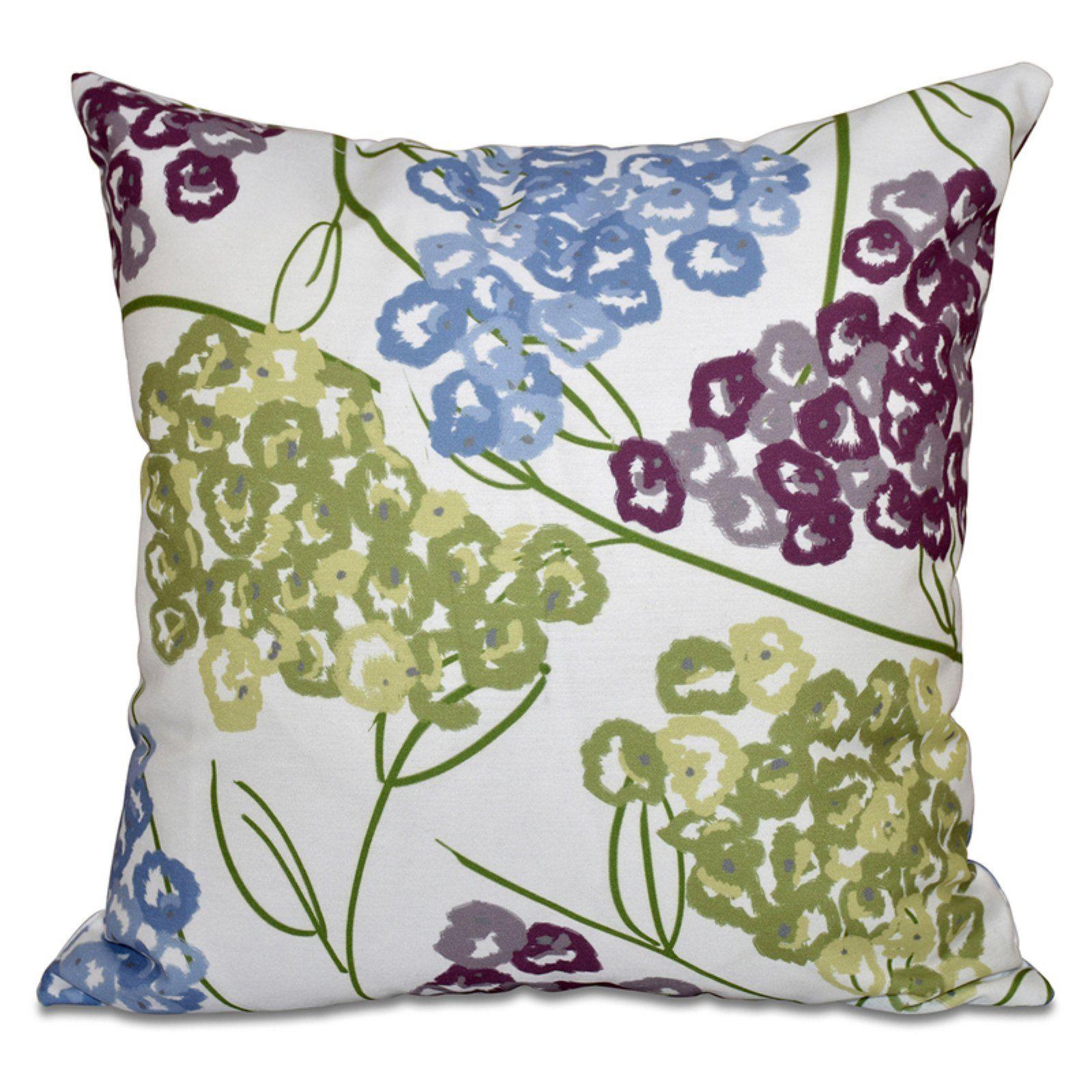 E by Design Beach Vacation Hydrangeas Decorative Pillow Purple / Green / Blue