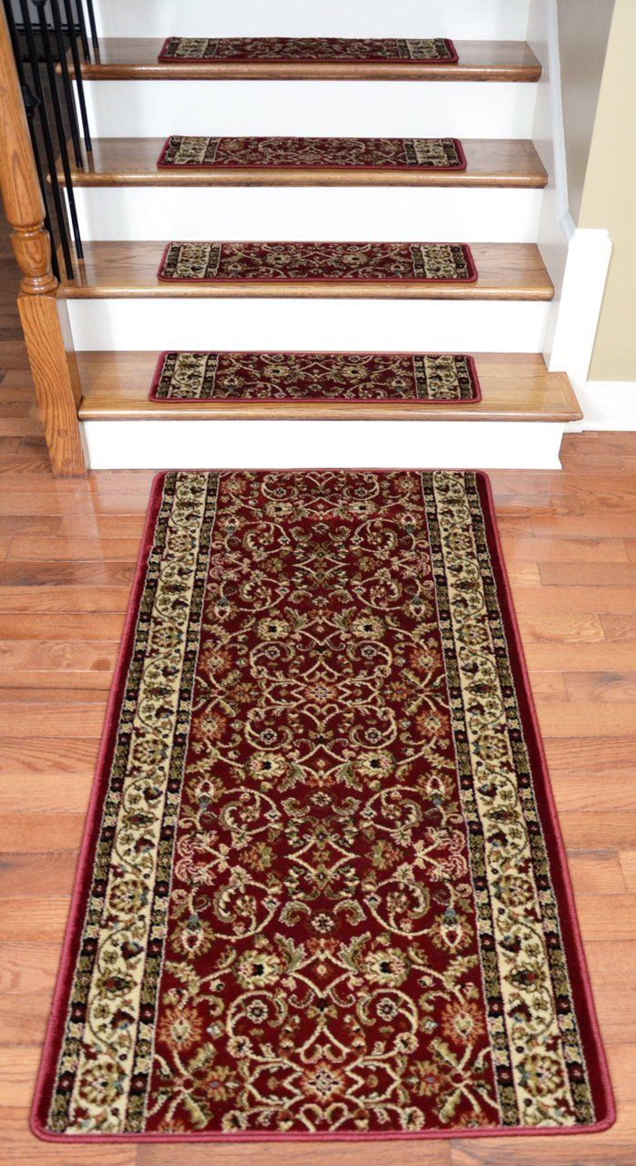 Best Dean Premium Carpet Stair Treads Classic Keshan Claret 640 x 480