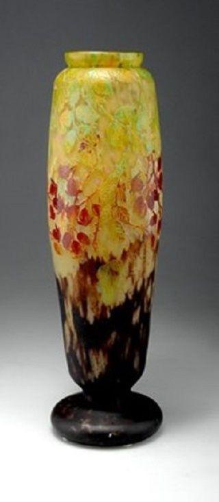 Henri Bergé (1870–1937)     Vase Fleurs de pommier (model 2907)      polished, etched glass w/inclusions     Henri Bergé (1870–1937) Title:     Vase Les fruits de l'églantier  Medium:     cased glass, etched w. fusions     49.5 cm. (19.5 in.)