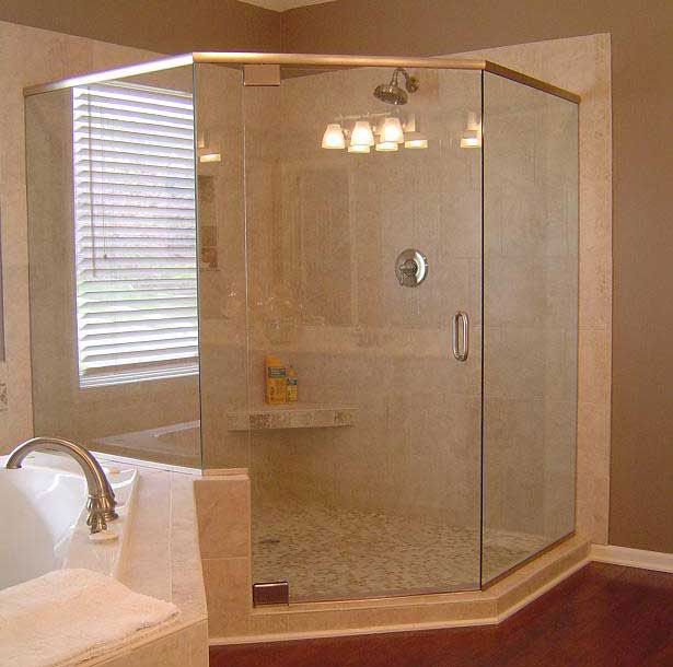 Corner Frameless Shower Enclosures frameless glass neo angled corner shower next to a bathtub. from
