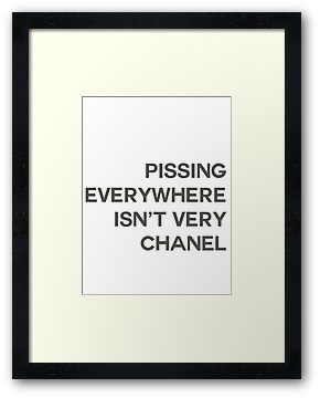 PISSING CHANEL by William Åsgårdh- from sign on mens restroom at Chanel headquarters