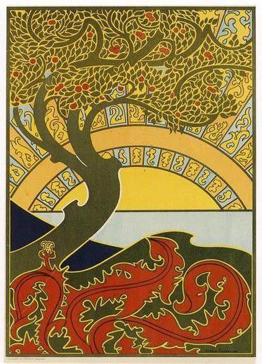 Art Nouveau Tree : nouveau, Nouveau, Combaz, Circa, Illustration,, Design,