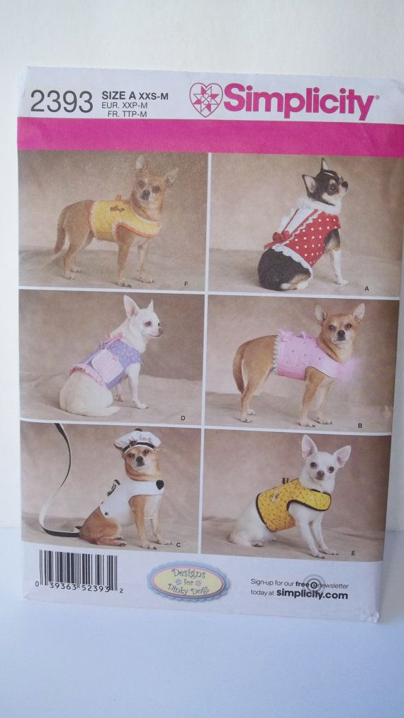 Dog Clothing Simplicity 2393 Sewing Pattern Dog by WitsEndDesign