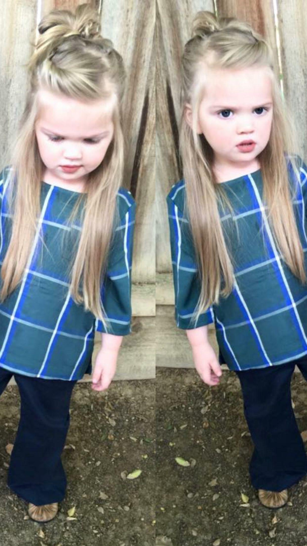 Little Girl Hairstyles Half Up Half Down Top Knot Messy Bun Littlegirlhairstyles Toddler Girl Haircut Baby Girl Hairstyles Little Girl Haircuts