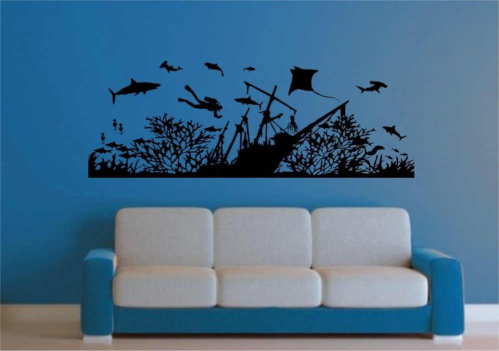 Deep Sea Underwater Sea Life With Diver And Sunken Ship Wall Decal - Underwater wall decals
