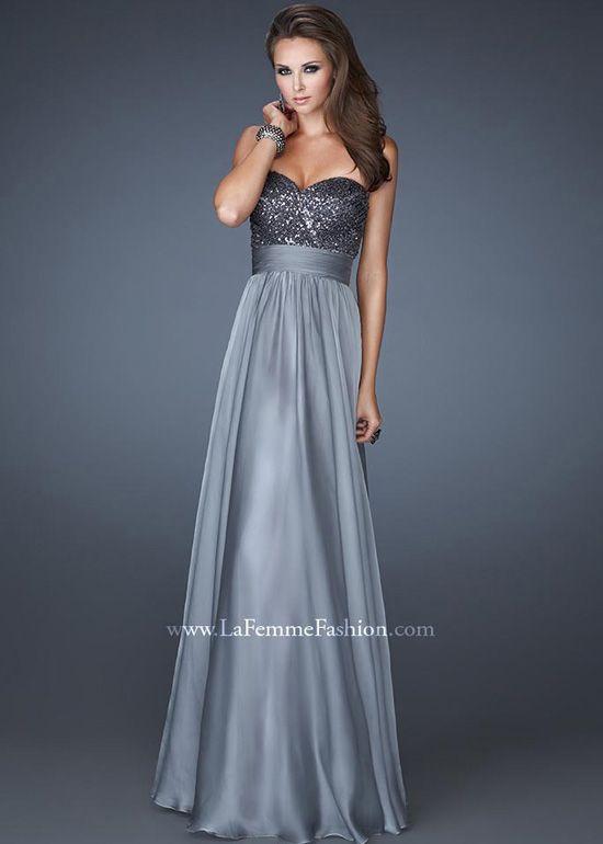 STUNNING Platinum Silver Strapless Sweetheart Neckline Prom Dress - La Femme 18584 - ThePromDresses.com