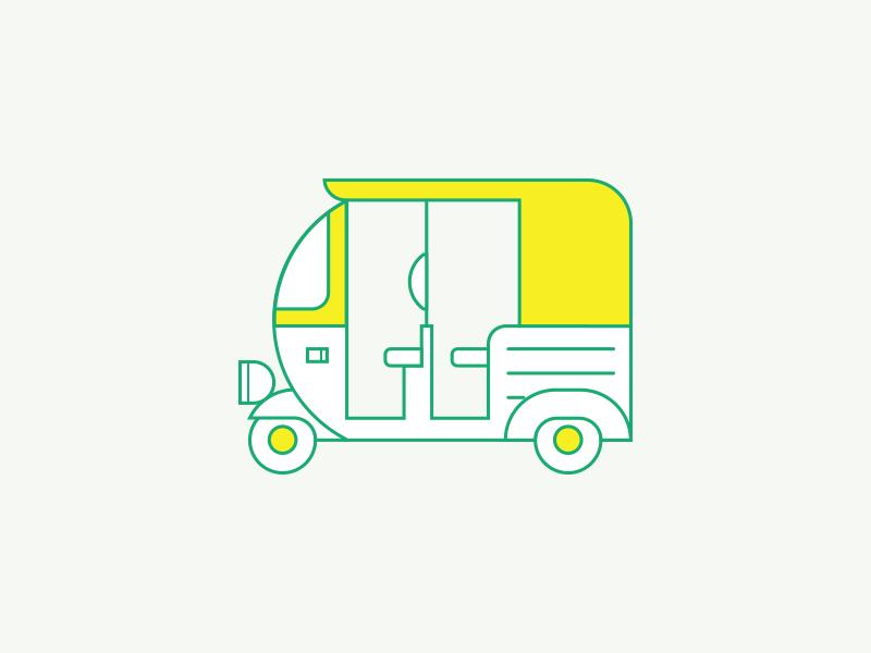 Auto Rickshaw Geometric Illustration In 2019 Kids Drawing