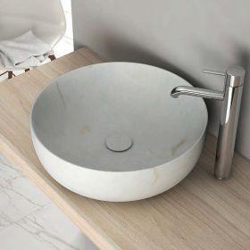Vasque  poser en Marbre blanc 42x14 cm avec bonde Vesco