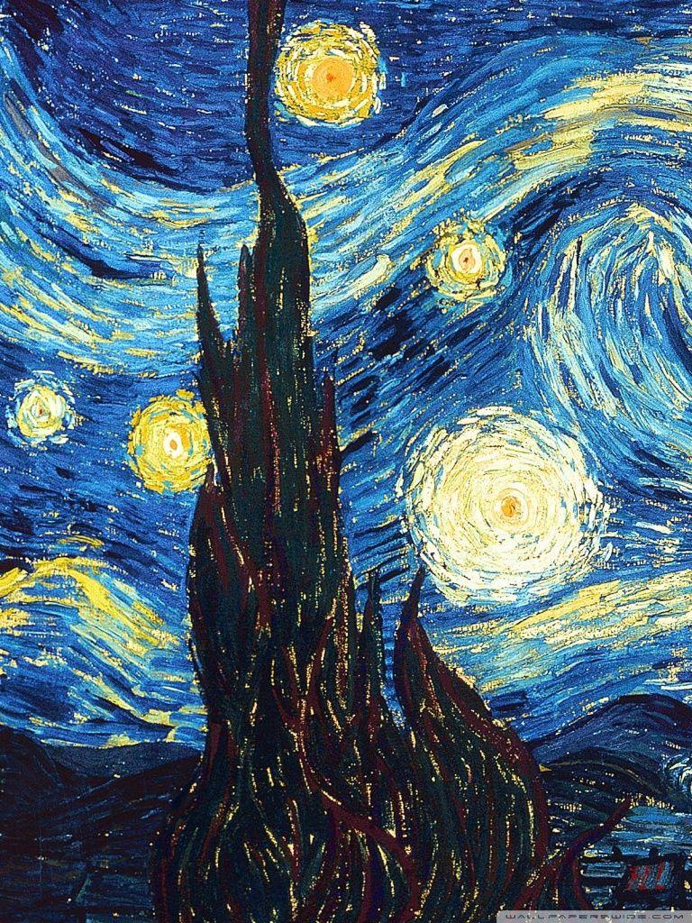 The Starry Night Hd Desktop Wallpaper Widescreen High Starry Night Van Gogh Starry Night Wallpaper Van Gogh Wallpaper