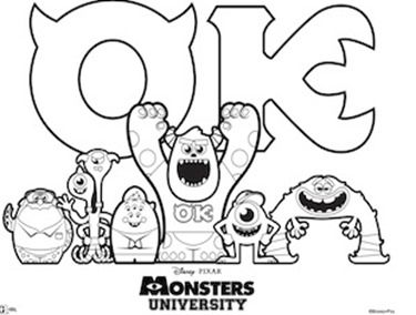 Free Monsters University Activity Sheets Free Disney Coloring Pages Disney Coloring Pages Monster Coloring Pages