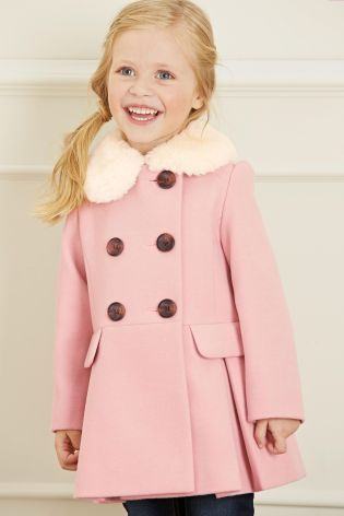 Buy Pale Pink Fur Collar Jacket (12mths-6yrs) online today at Next ...