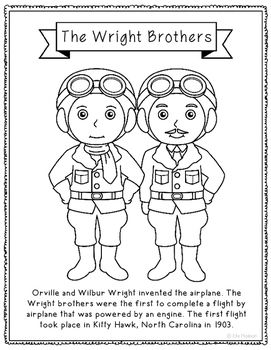 The Wright Brothers Inventor Coloring Page Craft Or Poster Stem History Wright Brothers History Interactive Notebook Coloring Pages