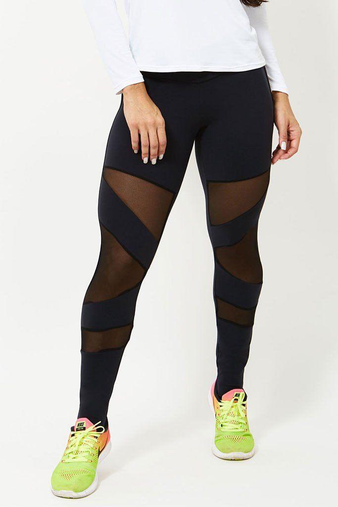 CANOAN Flash Black Meshed Workout Leggings Mustat Leggingsit 02826418ab