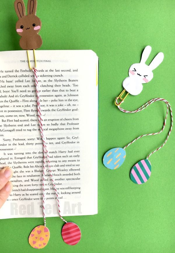 Bunny Bookmark Design For Easter Red Ted Art Make Crafting With Kids Easy Fun Bookmarks Kids Bookmarks Handmade Diy Bookmarks