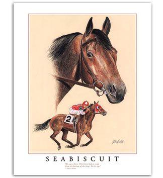 Famous Thoroughbred Race Horses Seabiscuit Famous Thoroughbred Race Horse Framed Art Painting Pictures Equine Artwork Horse Art Horses