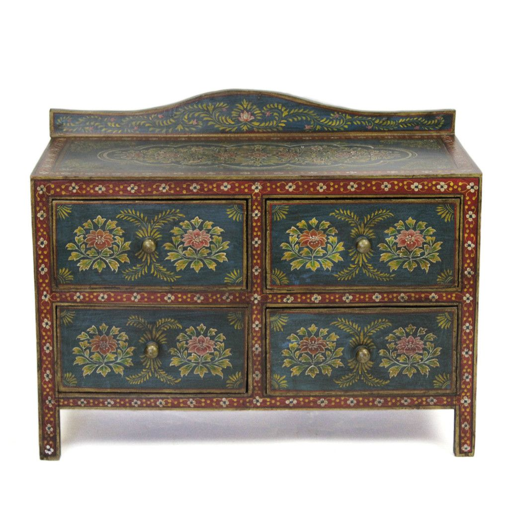 Painted Tibetan Dresser Floral painted furniture