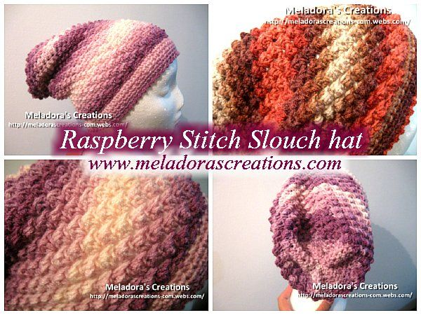 Raspberry Stitch Slouch Hat - Free Crochet Pattern | Crochet | Pinterest