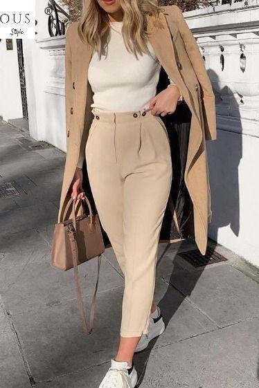 Chic office wear khaki herem pants