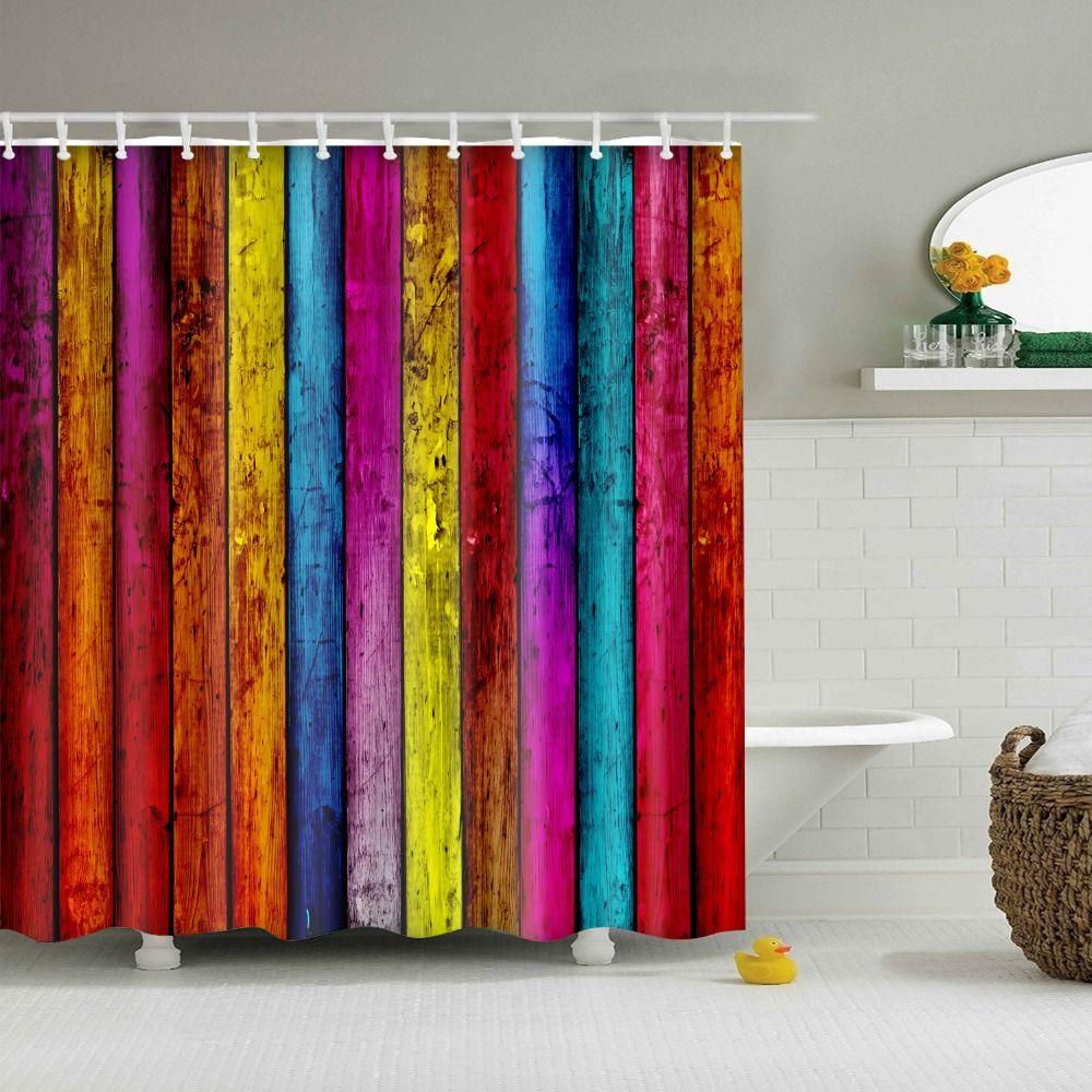 Wood Shower Curtain Douche Gordijn New Arrival Design Colorful